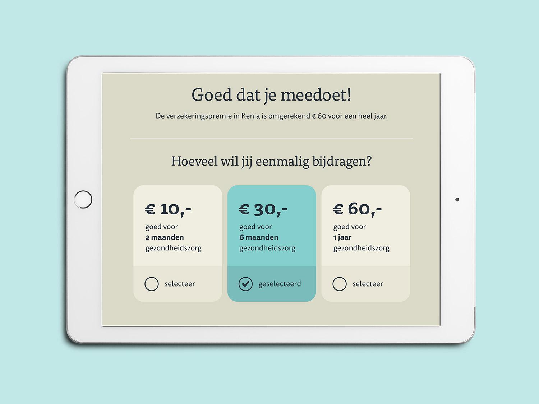 Donatiepagina van de app